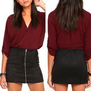 Black Vegan Suede Mini Skirt